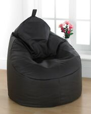 Large Faux Leather Bean Bag Filled Lounger Gaming Chair Brown With Loop Handle
