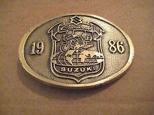 SUZUKI CAVALCADE BRASS BELT BUCKLE 1986 NOS!