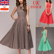 UK Womens Polka Dot Dress Ladies Sleeveless Party Midi Dresses Evening Plus Size