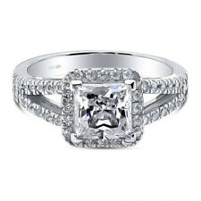 Zirconia Stackable Square Ring Sz.8 925 Fine Silver 1.4 Ctw Cubic