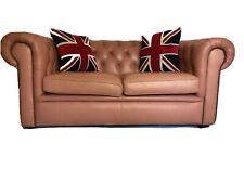 1 Hecho a Mano Cuero Vintage 20th Century Chesterfield Sofá de 2 asientos de color rosa salmón
