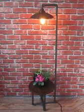 INDUSTRIAL RETRO VINTAGE URBAN METAL PIPE FLOOR LAMP WITH WOODEN SHELF