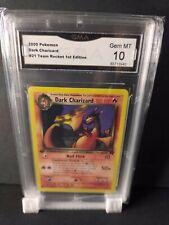 2000 Pokemon Dark Charizard #21 Team Rocket First Edition GMA 10 GEM MINT Non...