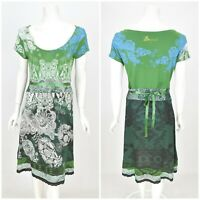 Womens Desigual 30V2146 Dress Green A-Line Belted Stretch Viscose Size M
