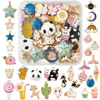 60pcs/Box Alloy Enamel Charms Animal Star Colorful Pendants Findings 12.5~31mm