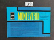 MONTEVERDI 375 S HIGH SPEED FOLDOUT CAR BROCHURE 1970 TRIPLE LANGUAGE VNC