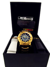NEW JOJINO BY JOE RODEO MENS DIAMOND WATCH GOLD TONE CASE METAL BAND + 2 STRAPS