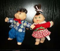 """Vintage 1990s CABBAGE PATCH KIDS Girl Dolls Small Soft Body Plush Doll 5"""" guc+"""