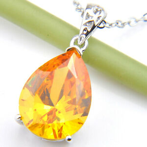 Pear Shaped Honey Brazil Citrine Gemstone Silver Necklace Pendants P0681