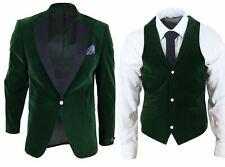 Cena chaqueta blazer para hombre Terciopelo Negro Chaleco Boda Fiesta Baile de Graduación Verde