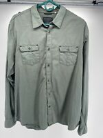 Guess Mens Shirt XXL Button Down Olive Green Long Sleeve Embroidered 100% Cotton