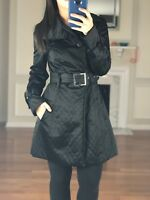 BEBE Button Front Quilted Lightweight Belted Trench Coat, Black, Women's XS