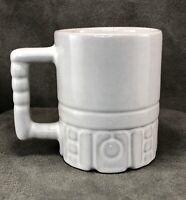 "Vintage Frankoma Pottery Mug Cup C4 Mayan Aztec 4"" White Glazed Terra Cotta"
