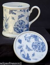 Portmeirion botanic blue tasse et coaster floral et papillons