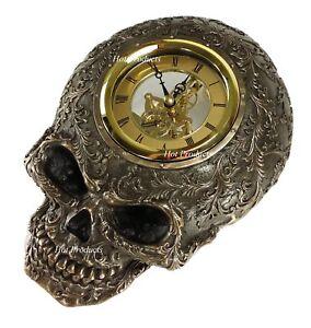 "10"" Steampunk Skull Statue Gear Wall Clock Statue Skulpture"