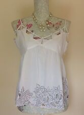 Poste Mistress White Baby Doll Spaghetti Strap Embroidered Crop Top Size 14