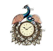 Traditional Rajasthani Hand Painted Wooden Peacock Shape Wall Clock - 457