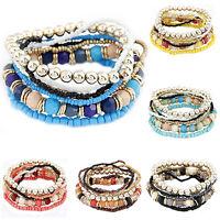 Womens Great Ideal Charm Boho 1 Set 7Pcs Multilayer Acrylic Beads Beach Bracelet