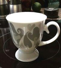 "Mary Kay® LOVE AIMER Silver Gray Hearts Pedestal Coffee/Tea Mug Cup - 4.25""H"