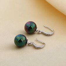 Attractive chic 18k white gold filled swarovski crystal lady Black Pearl earring