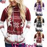 Women Christmas Hooded Sweatshirt Long Sleeve Xmas Hoodie Shirt Top Pullover US