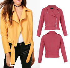 UK Womens NEW Faux Suede BIKER Zipper Cropped Coat Bomber Collared JACKET Coats