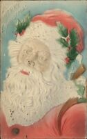 Christmas - Santa Claus Close-Up Airbrished Embossed c1910 Postcard