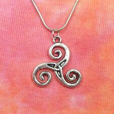 """Triskelion Necklace, Triskele Pagan Wicca Celtic Triquetra Charm Pendant 16-36"""""""
