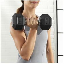 20 LB Dumbbells Pair Rubber Hex- 40lb Total- Brand New- Quality- Free Shipping