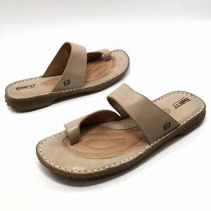 ✅💟✅5 BORN CROWN TOE WRAP FLIP FLOPS SANDALS 11 Eu43 LEATHER Tan Slides