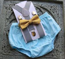 1st Birthday boy cake smash diaper cover bow tie boy clothes  blue gray gold