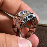 Fashion 925 Silver Rings for Men Band White Sapphire Party Jewelry Size 8-12