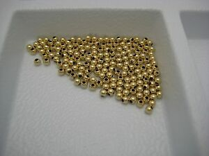 14K Yellow 2MM Tiny Hollow Gold Beads Made in USA Select Lot Size