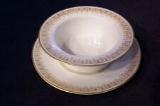 Antique Laviolette Porcelaine Limoges France Ramekin w/ Saucer Gold Filigree