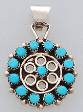 Native American Zuni Sterling Silver with Turquoise Pendant