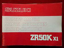 SUZUKI 1980 ZR50K X1 ZR 50 K ORIGINAL OWNERS MANUAL