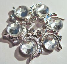 2 Silver Metal Clear Crystal Rhinestone Round Embellishment 43mm M0531