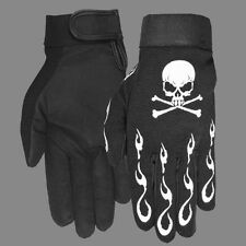 Motorcycle Biker Mechanics Gloves With Skull & Crossbones XL