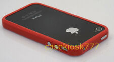 for iPhone 4 4s red light red bumper case hard silicone screen protector film