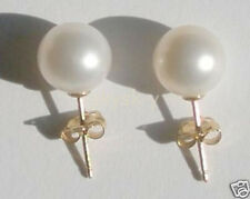 Real Natural 10mm White AAAA South Sea Pearl Earrings 14k gold Stud