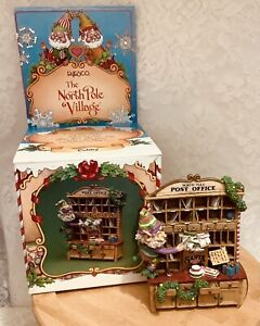 "Enesco North Pole Village ""CUBBY"" Post Office 1992 Zimnicki With Damage With Box"