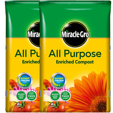 2 x Miracle-Gro All Purpose Enriched Compost 45L Potted Plants Flowers Soil Pots