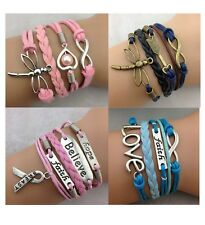 Infinity Bracelet Pink Blue Faith Love Bronze Dragonfly Breast Cancer Support