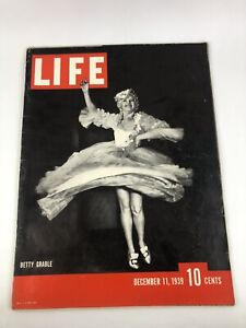1939 December 11 Life Magazine - Betty Grable - Beautiful Front Cover - Gg 217