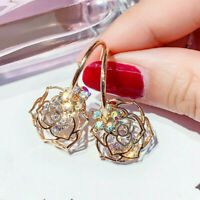Fashion Hollow Out Rose 925 Silver,Gold Earrings Women Jewelry A Pair/sets UK