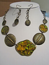 Abalone Brass Metal Work Base Antique Look Necklace Earring Set