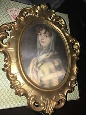 Princess Art Wall Mount Oval Picture Frame Music Box, West Germany