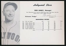 1949 Hollywood Stars Team Issue (PCL) -FRED HANEY (Manager) *Autographed* d.1977