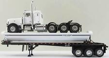1/64 DCP WHITE/BLACK PETERBILT 389 W/ SMITHCO SIDE DUMP TRAILER
