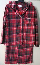 Karen Neuburger XL KN Red Plaid Fleece Pajama's 2 Pc Set Microfleece Set NWT